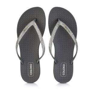 Coloko Womens Orchid Pewter Flip Flops
